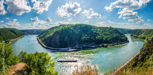 Panoramic landscape of River Rhine and Loreley on the right viewed from Rheinsteig trail viewpoint Felsenkanzel in Rhineland Palatinate near Sankt Goarshausen #358178528