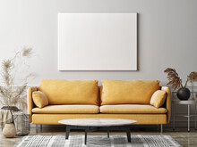 Mockup Poster In The Living Room, The Yellow Sofa In Bohemian Style, 3d Render, 3d Illustration
