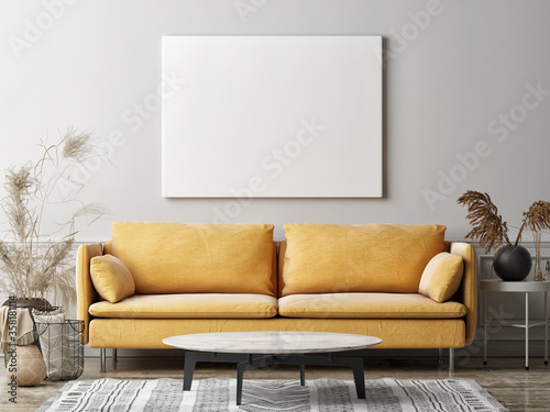 Obraz Mockup poster in the living room, the yellow sofa in bohemian style, 3d render, 3d illustration - fototapety do salonu