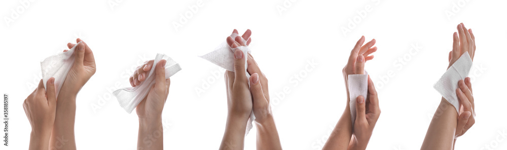 Fototapeta Closeup view of people cleaning hands with wet wipes on white background, collage. Banner design