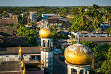 Birds-eye View Of Bago With Its Jarmay Mosque And Crumbling Architecture In Burma (Myanmar).