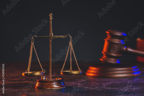 Fotografie, Tablou Scales of justice and gavel on table of notary public