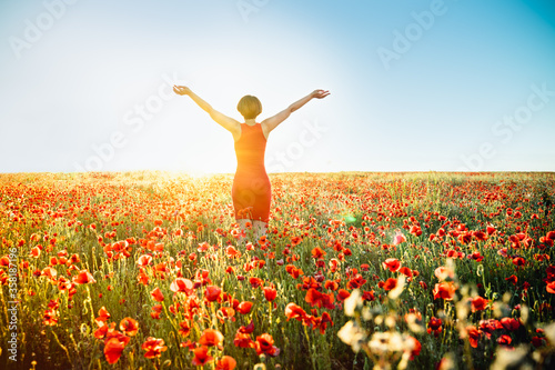 Fotomural Back view girl in red poppies flowers meadow and blue sky in sunset light