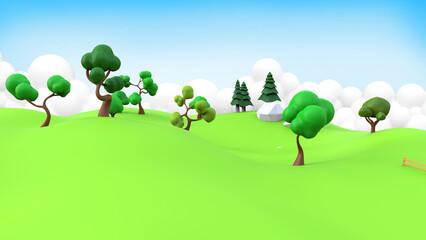 3d rendering nature cartoon landscape.