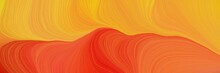 Colorful And Elegant Vibrant Abstract Artistic Waves Graphic With Modern Waves Background Design With Golden Rod, Vivid Orange And Orange Red Color