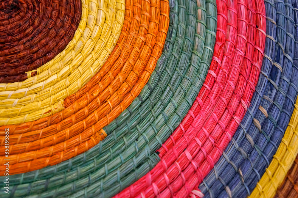Handicraft with colorful straw