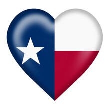 Texas Flag Heart Button Isolat...