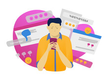 Male Character Hold Mobile Phone, Online Cyber Bullying Isolated On White, Flat Vector Illustration. Modern Technology, Web Man Harassment. Social Abuse Unstable Emotional State, Dangerous Comment.