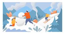 People Rest Mountain Winter Sp...