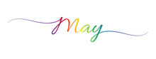 May Letter Calligraphy Banner Colorful Gradient