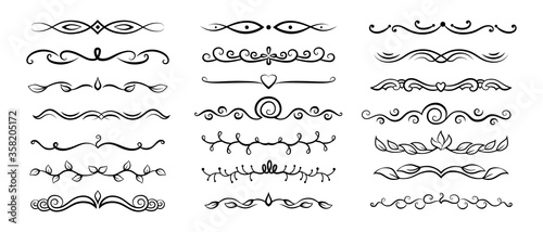 Obraz Divider floral calligraphic set. Flourishes borders, vegetable swirl vignettes decorative elements, ornaments. Elegant graphics elements ink black and white drawing. Vector illustration - fototapety do salonu