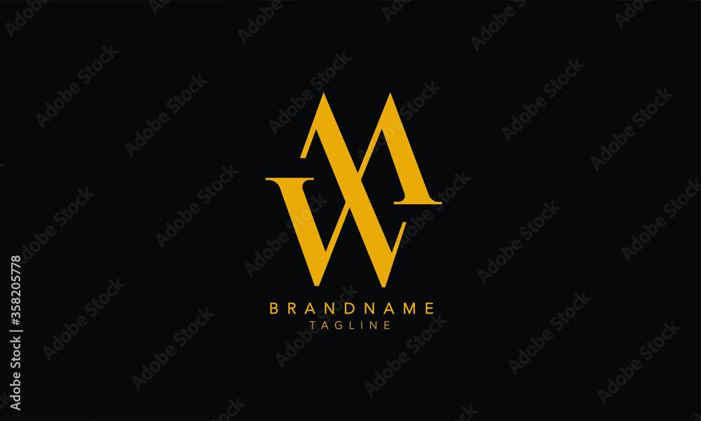 Fototapeta Alphabet letters Initials Monogram logo MW, WM, W and W