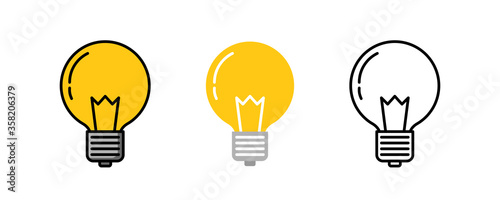 Fotografía Light bulb logo icon three design, Color line, Flat lay and outline