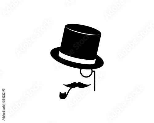 gentleman face with hat and mustache Fototapete