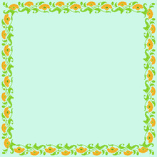 Vintage Square Frame With Yellow Tulips. Art Nouveau Style. Vector.