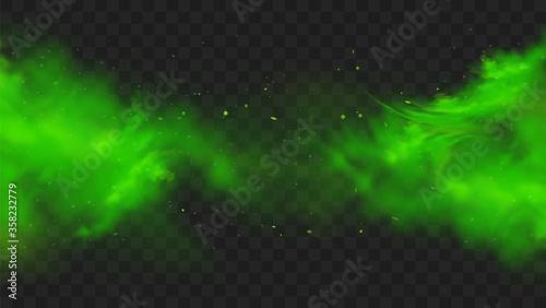 Obraz na plátně Green smoke isolated on transparent background