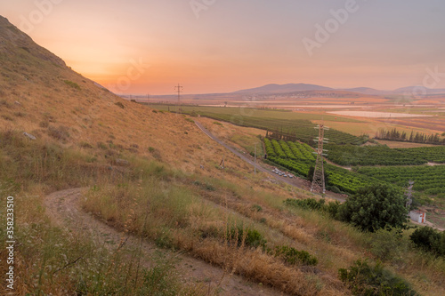 Sunset view of the eastern part of Jezreel valley Canvas Print