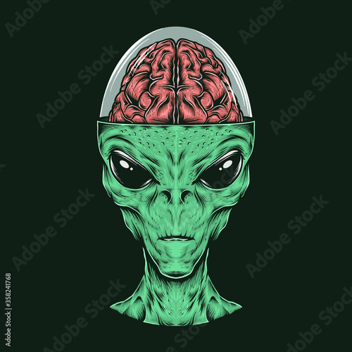 Obraz na plátně Hand drawing vintage alien head with brain vector illustration