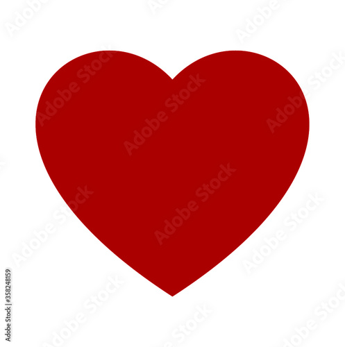 Fototapeta Heart, love, romance red vector icon isolated on white background obraz na płótnie