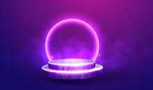 Empty Podium Vector Illustration Isolated On Purple Background - Exhibition Pedestal With A Neon Circle - Empty Space For Your Product
