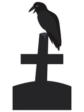 Vector Illuctration Raven Is Sitting On Cross Tombstone On A White Backdround. Halloween