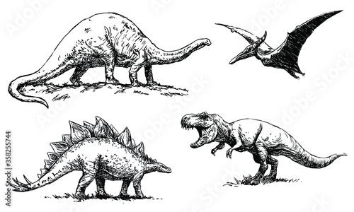 Fototapeta dinosaurs - Brontosaurus, Pterodactylus, Stegosaurus and Tyrannosaurus - set of