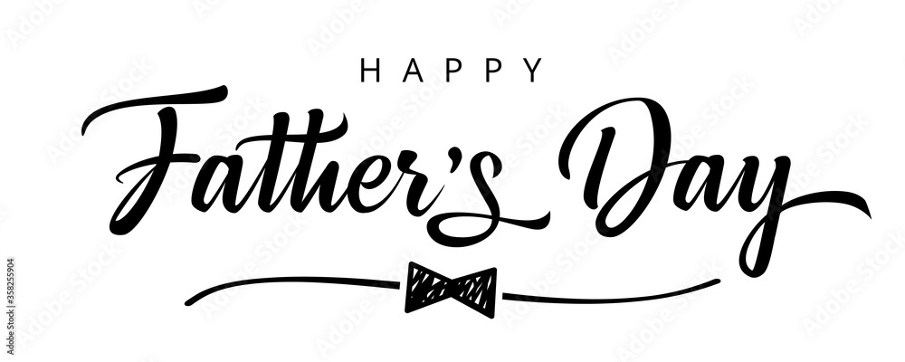 Fototapeta Happy Fathers Day bow tie typography banner. Father's day sale promotion calligraphy poster with doodle necktie and divider sketch line. Vector illustration