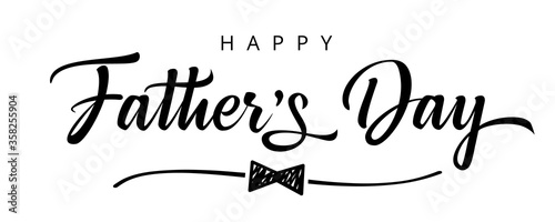 Fototapeta Happy Fathers Day bow tie typography banner. Father's day sale promotion calligraphy poster with doodle necktie and divider sketch line. Vector illustration obraz