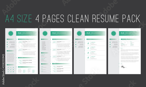 Photographie Resume, Olive 4 Pages Resume Pack, Minimalist CV Template, Resume, Reference, Cover Latter