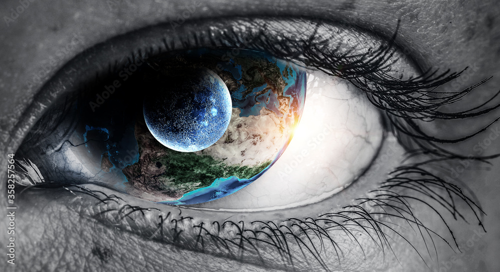 Fototapeta Human eye and space. Elements of this image furnished by NASA.