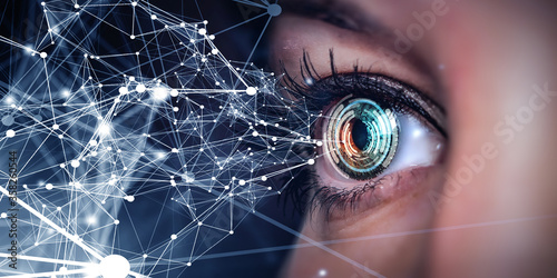 Slika na platnu Close up of woman eye in process of scanning