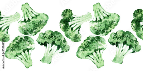 Fototapeta Watercolor seamless border with different types of cabbage. Brussels sprouts, broccoli and Kale obraz