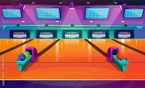 Slika na platnu New modern bowling interior with pins and balls vector illustration