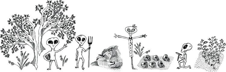 Alien gardening vector sketches set