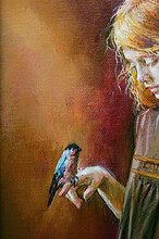 A Young Girl Holds A Bullfinch...