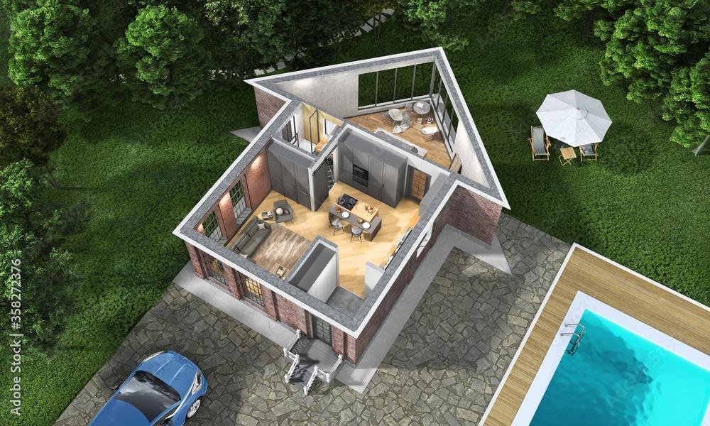 Fototapeta House at the garden zone , 3d illustration