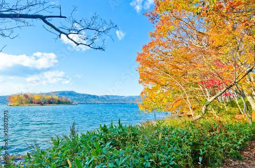 Lake Akan in autumn, Hokkaido, Japan. Canvas Print