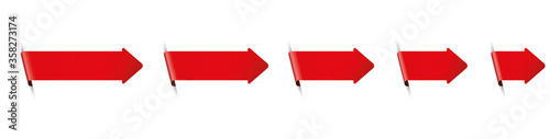 Cuadros en Lienzo set of red arrow bookmark banners for any text on white background