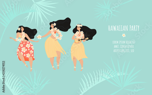 Hawaiian party banner template with three dancing girls in traditional dresses and tropical plants.