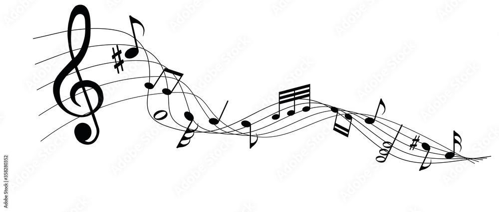 Fototapeta musical notes melody on white background