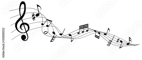 musical notes melody on white background Canvas-taulu