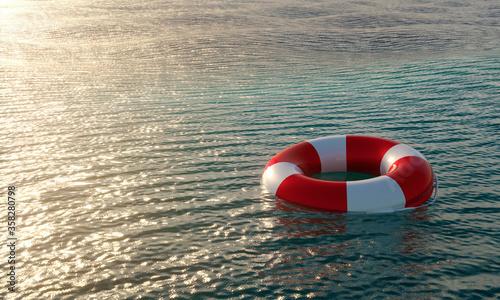 Obraz na plátně Lifebuoy in ocean - 3D render illustration