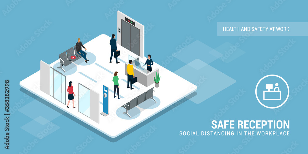 Fototapeta Safe business reception and social distancing