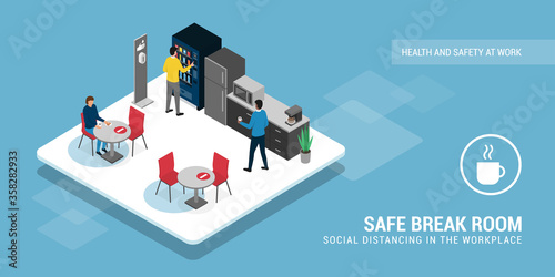 Safe break room and social distancing - 358282933