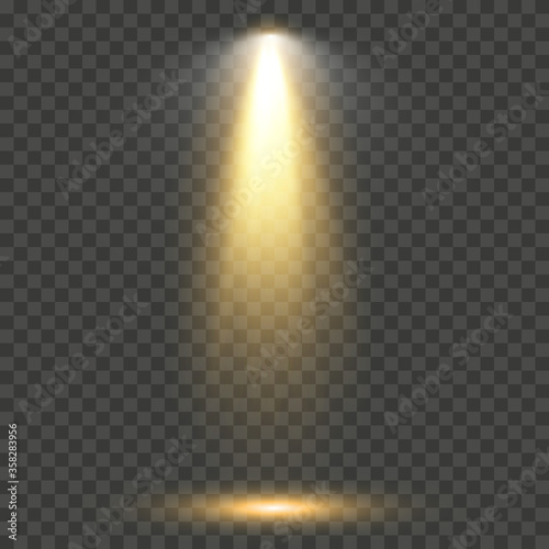 Fototapeta Vector light sources, concert lighting, stage projector set. obraz na płótnie