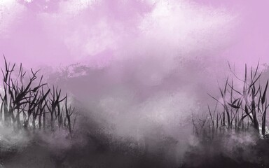 Obraz na płótnie Canvas Foggy purple background landscape with trees illustration.