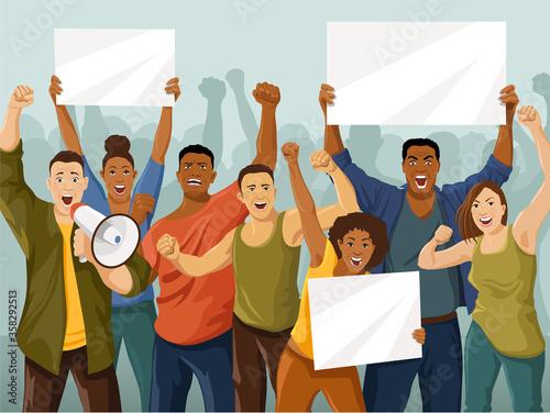 Protesting crowd Canvas Print