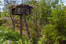 A Bear Cache, Food Cache Or Bear Box Is A Place Designed To Store Food Outdoors And Prevent Bears And Other Animals From Accessing It. Niliaitta. Tree House. Hut.