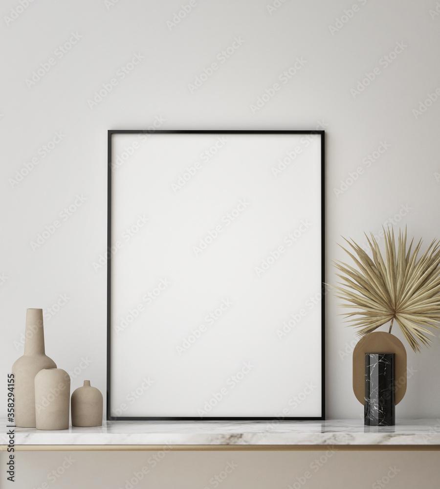 Fototapeta mock up poster frame in modern interior background, close up, living room, Scandinavian style, 3D render, 3D illustration