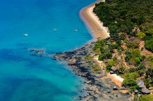 Aerial View Of The Beatiful Blue Ocean Water And Green Trees, Bissagos Archipelago (Bijagos), Guinea Bissau.  UNESCO Biosphere Reserve